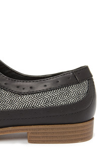 Restricted Bedford Black Herringbone Oxford Flats at Lulus.com!