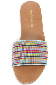 Madden Girl Elektra Blue Multi Slide Sandals at Lulus.com!