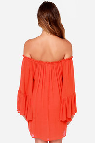Samba Rhythm Red Orange Off-the-Shoulder Dress at Lulus.com!