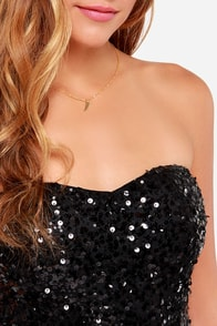 Hollywood Sweethearts Strapless Sequin Black Dress at Lulus.com!
