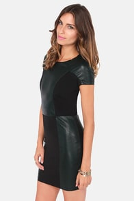 Lucca Couture Quick on the Draw Dark Green Vegan Leather Dress at Lulus.com!