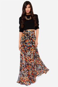 Brushstrokes Black Floral Print Maxi Skirt at Lulus.com!