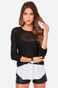 Deaux Tell Ivory and Black Sweater Top at Lulus.com!