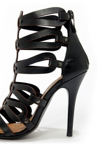 Chinese Laundry Janes Way Black Leather Strappy Peep Toe Heels at Lulus.com!