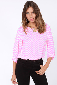 On the Cuff Hot Pink Chevron Print Top at Lulus.com!