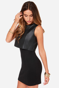 Vest of Both Worlds Black Vegan Leather Dress at Lulus.com!