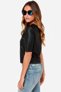 BB Dakota Pia Black Vegan Leather Top at Lulus.com!