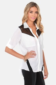 Make the Mesh-t of It Black and Ivory Button-Up Top at Lulus.com!