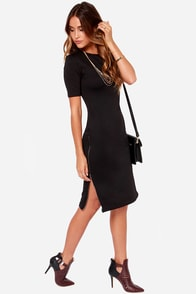 Zippery When Wet Black Midi Dress at Lulus.com!