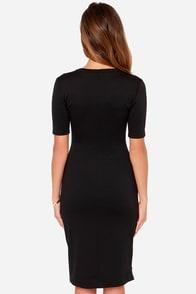 Zippery When Wet Black Midi Dress at Lulus.com!