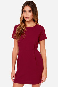 Lock In Your Love Darted Burgundy Dress at Lulus.com!