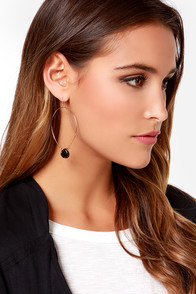 Stone Age Black and Gold Hoop Earrings at Lulus.com!