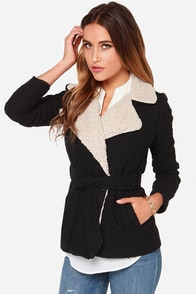 Jack by BB Dakota Smith Beige and Black Coat