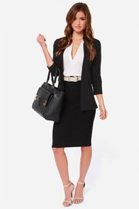 BB Dakota Senet Black Bandage Midi Skirt at Lulus.com!