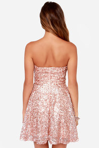 Shine and Dandy Strapless Rose Gold Sequin Dress at Lulus.com!