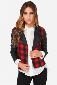 Jack by BB Dakota Hughes Black and Red Plaid Moto Jacket