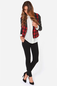 Jack by BB Dakota Hughes Black and Red Plaid Moto Jacket at Lulus.com!