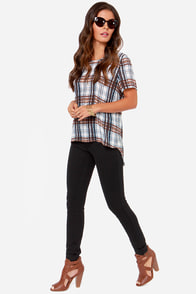 I. Madeline Plaid the Game Blue Plaid Top at Lulus.com!