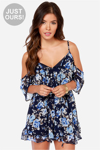 LULUS Exclusive Ruffled Night Navy Blue Floral Print Romper at Lulus.com!