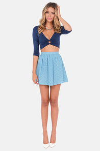 Crop of the Line Navy Blue Crop Top at Lulus.com!