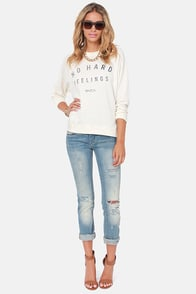 RVCA No Hard Feelings Cream Sweatshirt at Lulus.com!