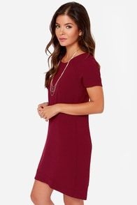 Au Contraire Burgundy Dress at Lulus.com!