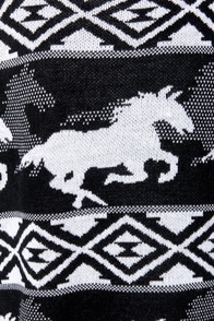 RVCA Buddy Black and White Horse Print Sweater at Lulus.com!