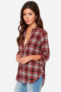 LULUS Exclusive Betty Scotch Red Plaid Print Top at Lulus.com!