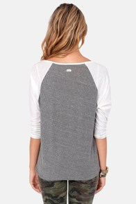 RVCA Label Ziggy Ivory and Grey Top at Lulus.com!