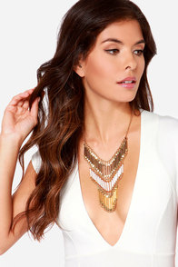 Might I Chime In? Gold Statement Necklace at Lulus.com!