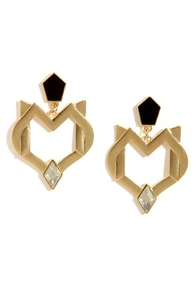 Secret Coven Gold Rhinestone Earrings at Lulus.com!