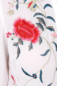 Act Naturally Embroidered Ivory Top at Lulus.com!