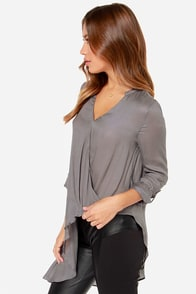 Aryn K About Town Grey Long Sleeve Top at Lulus.com!