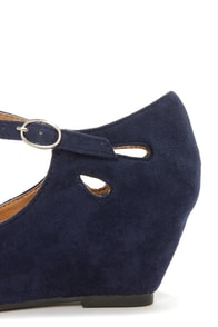 City Classified Tylee Navy Blue Suede Ankle Strap Wedges at Lulus.com!