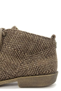 Blowfish Anetta Brown Dublin Tweed Lace-Up Ankle Boots at Lulus.com!