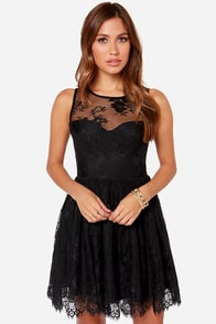 Leap of Lace Black Lace Dress at Lulus.com!
