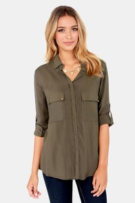 Metal Down Studded Olive Button-Up Top at Lulus.com!