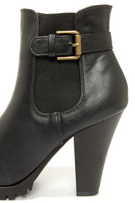 Soda Magic Black High Heel Ankle Boots at Lulus.com!