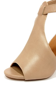 My Delicious Speakup Taupe Cutout Peep Toe Booties at Lulus.com!
