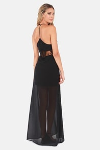 Let There Be Leg Black Lace Maxi Dress at Lulus.com!