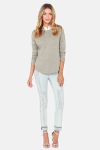 Reach For the Moonbeam Grey Beaded Sweatshirt at Lulus.com!