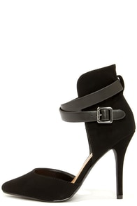 My Delicious Aijah Black High Back Pointed Heels at Lulus.com!