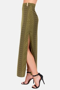 Rhythm So Boarders Olive Green Maxi Skirt at Lulus.com!