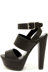 My Delicious Capable Black Strappy Platform Sandals at Lulus.com!