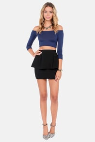 Half the Battle Off-the-Shoulder Navy Blue Crop Top at Lulus.com!