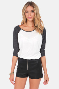 RVCA Label Ziggy Black and Ivory Top at Lulus.com!