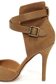 My Delicious Aijah Mid Tan High Back Pointed Heels at Lulus.com!