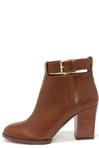 Report Signature Marlah Tan Leather High Heel Booties at Lulus.com!