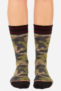 Stance Crosby Green Camo Print Socks at Lulus.com!