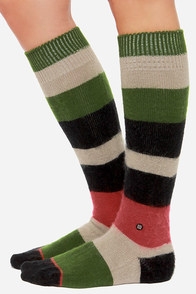 Stance Johnnie Striped Black and Green Socks at Lulus.com!